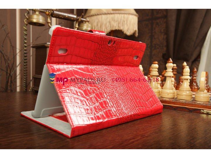 Фирменный чехол-обложка для Huawei Mediapad 10 Link кожа крокодила красный..