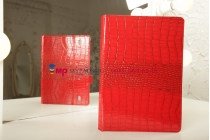 Фирменный чехол-обложка для Huawei Mediapad 10 Link кожа крокодила красный