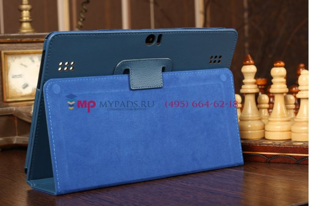 Чехол-обложка для Huawei Mediapad 10 Link синий кожаный