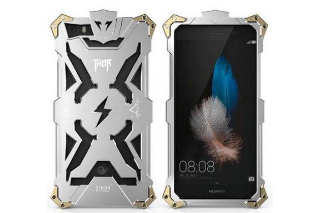Противоударный металлический чехол-бампер из цельного куска металла с усиленной защитой углов и необычным экстремальным дизайном  для Huawei P8 Lite серебряного цвета