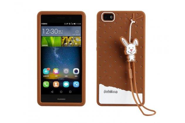"""Фирменная необычная уникальная полимерная мягкая задняя панель-чехол-накладка для Huawei P8 Lite  """"тематика Андроид в Темном  Шоколаде"""""""