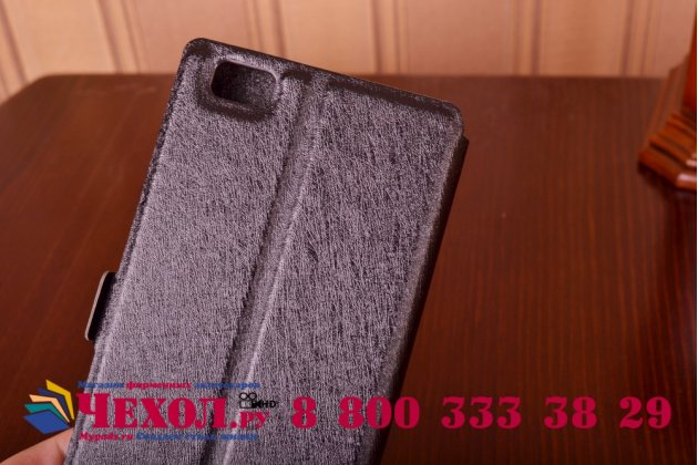 Фирменный оригинальный чехол-книжка для Huawei P8 Lite черный водооталкивающий с окошком для входящих вызовов