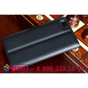 Фирменный чехол-книжка из качественной импортной кожи с мульти-подставкой застёжкой и визитницей для Хуавей П8 Лайт черный