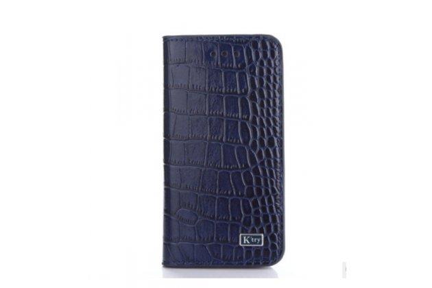 Фирменный чехол-книжка с мульти-подставкой и визитницей для Huawei P8 Lite лаковая кожа крокодила синий