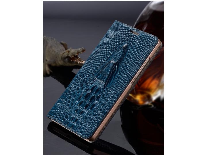 Фирменный роскошный эксклюзивный чехол с объёмным 3D изображением рельефа кожи крокодила синий для Huawei P8 L..