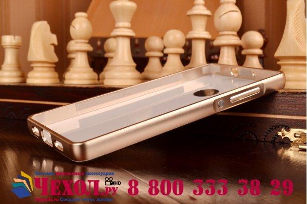 Фирменная металлическая задняя панель-крышка-накладка из тончайшего облегченного авиационного алюминия для Huawei P8 Lite золотая