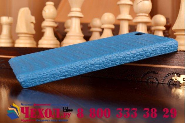 Элитная задняя панель-крышка премиум-класса из тончайшего и прочного пластика обтянутого кожей крокодила для Huawei P8 Lite морской-синий