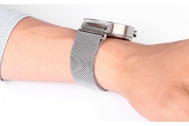 Фирменный сменный сетчатый плетёный миланский ремешок для умных смарт-часов Huawei Watch из нержавеющей стали с магнитным замком-застежкой