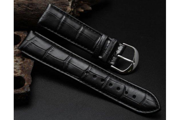 Фирменный сменный кожаный ремешок для умных смарт-часов Huawei Watch  из кожи крокодила черного цвета