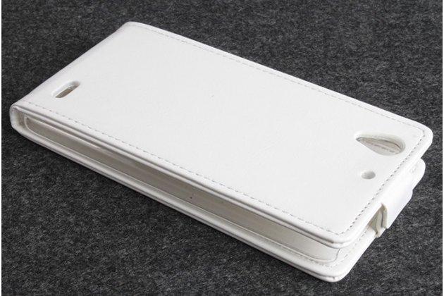 """Фирменный оригинальный вертикальный откидной чехол-флип для Huawei Ascend G630 белый из качественной импортной кожи """"Prestige"""" Италия"""