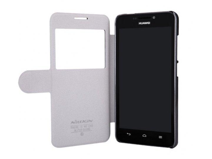 Фирменный оригинальный чехол-книжка для Huawei Ascend G630 черный кожаный с окошком для входящих вызовов..