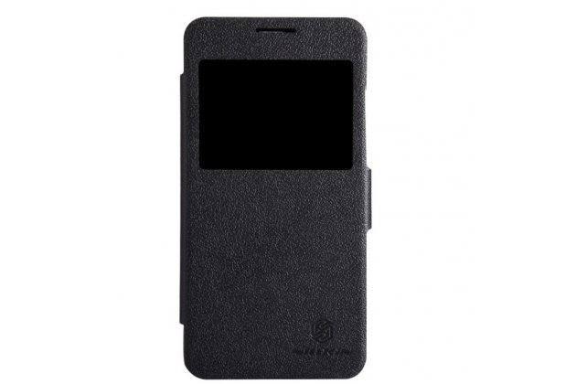 Фирменный оригинальный чехол-книжка для Huawei Ascend G630 черный кожаный с окошком для входящих вызовов