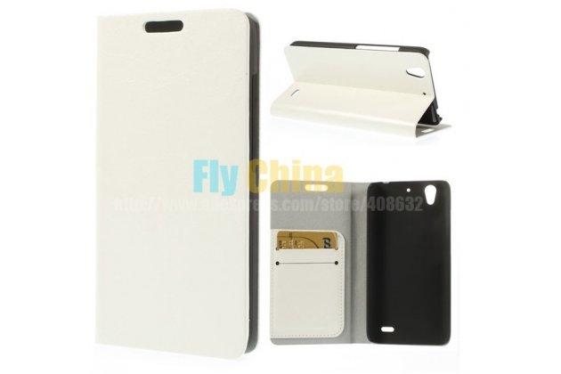 Фирменный чехол-книжка из качественной импортной кожи с подставкой застёжкой и визитницей для Huawei Ascend G630 белый