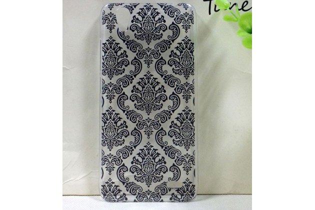 Фирменная роскошная задняя панель-чехол-накладка с расписным узором для Huawei Ascend G630 прозрачная черная