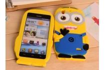 """Фирменная задняя панель-чехол-накладка с объёмным 3D изображением для Huawei Ascend G630 """"тематика веселый Миньон"""" желтая"""