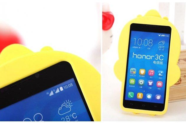 """Фирменная задняя панель-чехол-накладка с объёмным 3D изображением для Huawei Ascend G630 """"тематика веселый Утёнок"""" желтая"""