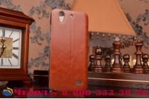 Фирменный чехол-книжка из качественной водоотталкивающей импортной кожи на жёсткой металлической основе для Huawei Ascend G630 коричневый