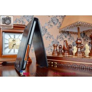 """Фирменный оригинальный вертикальный откидной чехол-флип для Huawei Ascend G630 черный из качественной импортной кожи """"Prestige"""" Италия"""