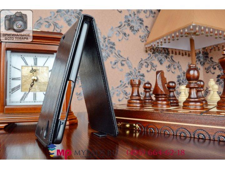 Фирменный оригинальный вертикальный откидной чехол-флип для Huawei Ascend G630 черный из качественной импортно..