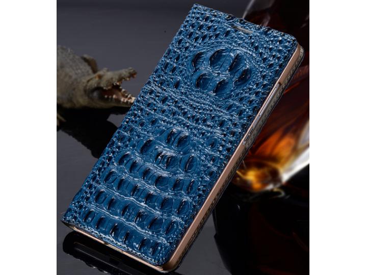 Фирменный роскошный эксклюзивный чехол с объёмным 3D изображением рельефа кожи крокодила синий для Huawei Mate..