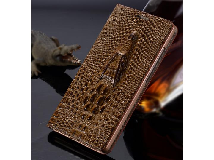 Фирменный роскошный эксклюзивный чехол с объёмным 3D изображением кожи крокодила коричневый для Huawei Mate 2 ..