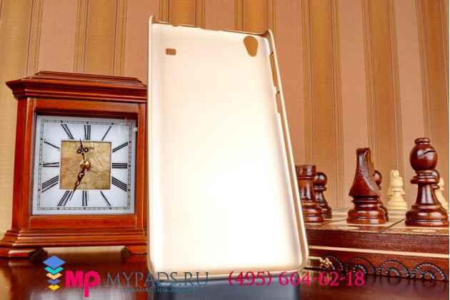 Фирменная задняя панель-крышка-накладка из тончайшего и прочного пластика для Lenovo A936 золотая