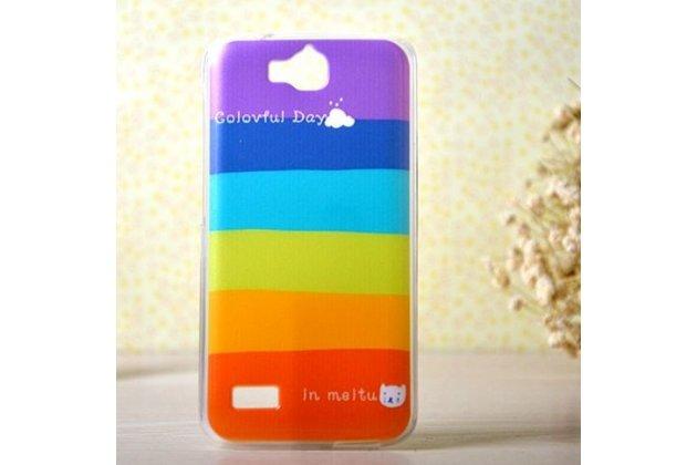 """Фирменная необычная из легчайшего и тончайшего пластика задняя панель-чехол-накладка для Huawei Honor 3C Lite """"тематика Все цвета Радуги"""""""