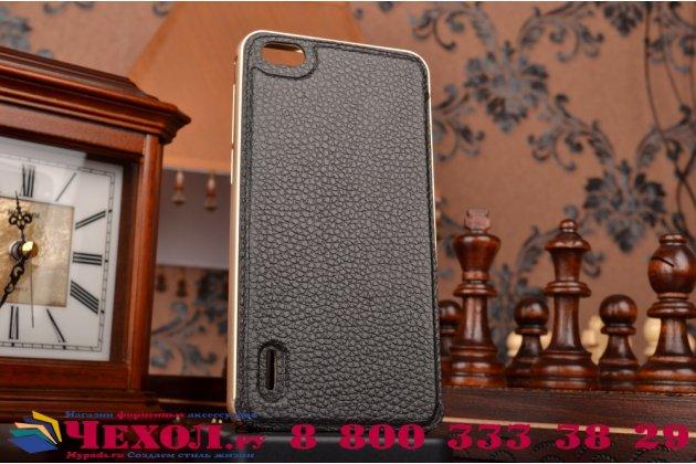 Фирменная роскошная элитная премиальная задняя панель-крышка на металлической основе обтянутая импортной кожей для Huawei Honor 6 королевский черный