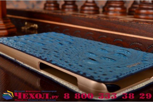 Фирменный роскошный эксклюзивный чехол с объёмным 3D изображением рельефа кожи крокодила синий для Huawei Honor 6. Только в нашем магазине. Количество ограничено
