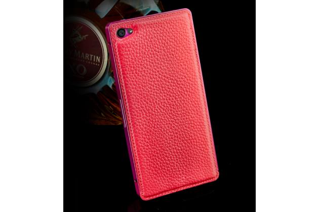 Фирменная роскошная элитная премиальная задняя панель-крышка на металлической основе обтянутая импортной кожей для Huawei Honor 6 королевский красный