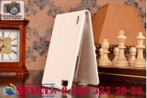 """Фирменный оригинальный вертикальный откидной чехол-флип для Huawei Honor 6 белый из качественной импортной кожи """"Prestige"""" Италия"""