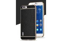 Фирменная премиальная элитная крышка-накладка на Huawei Honor 6 черная из качественного силикона с дизайном под кожу
