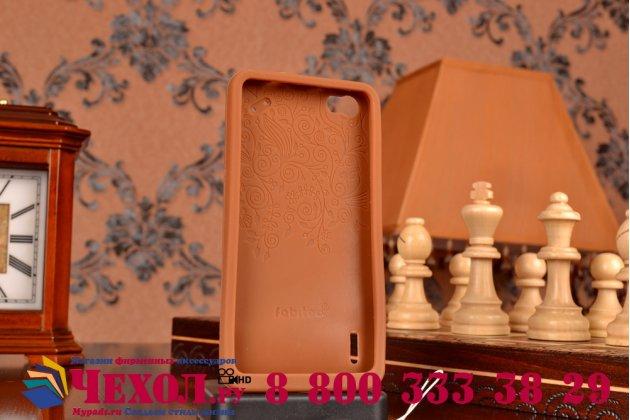 """Фирменная необычная уникальная полимерная мягкая задняя панель-чехол-накладка для Huawei Honor 6 """"тематика Андроид в тёмном Шоколаде"""""""
