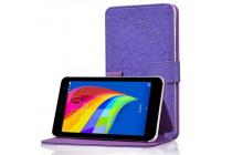 """Чехол-книжка с подставкой для Huawei MediaPad T1 T1-701u 7.0 из качественной импортной кожи с цветочным рисунком  """"Flower"""" фиолетовый"""