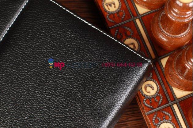 Чехол-обложка для Hyundai HT-9B черный кожаный
