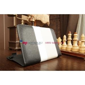 Чехол-обложка для IconBit Nettab Parus черный с серой полосой кожаный