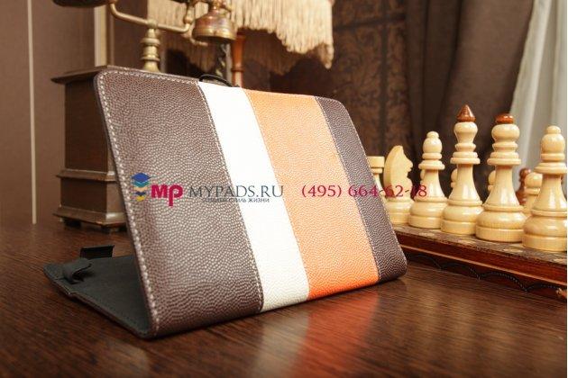 Чехол-обложка для IconBit Nettab Parus коричневый с оранжевой полосой кожаный