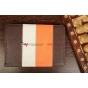 Чехол-обложка для Iconbit Nettab Space коричневый с оранжевой полосой кожаный
