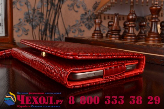 Фирменный роскошный эксклюзивный чехол-клатч/портмоне/сумочка/кошелек из лаковой кожи крокодила для планшета Irbis TZ03. Только в нашем магазине. Количество ограничено.