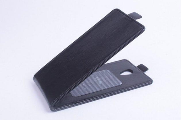 """Фирменный оригинальный вертикальный откидной чехол-флип для Jiayu S3 Plus / S3+ черный из натуральной кожи """"Prestige"""" Италия"""