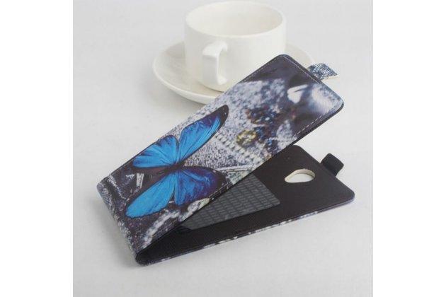 """Фирменный вертикальный откидной чехол-флип для Jiayu S3 Plus / S3+ """"тематика Бабочка"""""""