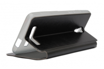 """Фирменный чехол-книжка для Jiayu S3 5.5""""  черный с окошком для входящих вызовов из импортной кожи"""