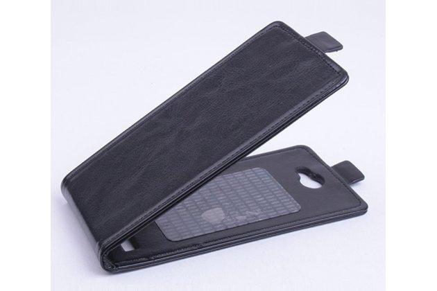 """Фирменный оригинальный вертикальный откидной чехол-флип для Jiayu F2 черный кожаный """"Prestige"""" Италия"""