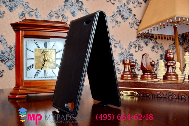 """Фирменный оригинальный вертикальный откидной чехол-флип для Jiayu G4/G4C/G4S черный из импортной кожи """"Prestige"""" Италия"""