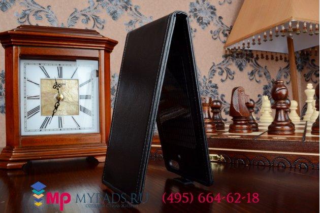 """Фирменный оригинальный вертикальный откидной чехол-флип для Jiayu G5/G5C/G5S черный из импортной кожи """"Prestige"""" Италия"""