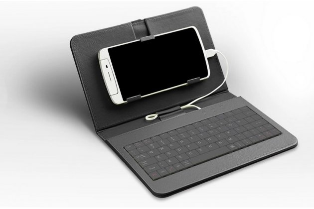 Фирменный чехол со встроенной клавиатурой для телефона KENEKSI Crystal 5.5 дюймов черный кожаный + гарантия