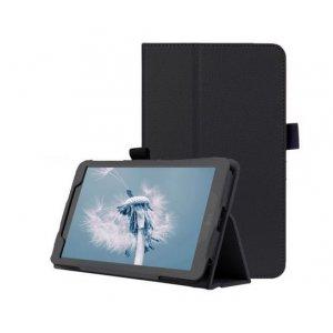 Фирменный оригинальный чехол обложка с подставкой для LG G Pad 2 8.0 (V498) чёрный кожаный