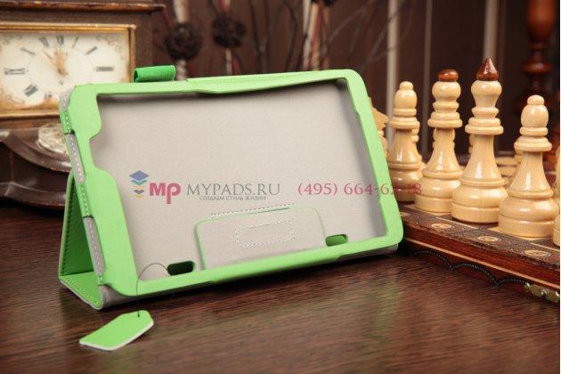 """Фирменный чехол-обложка для LG G Pad 8.3 V500  зеленый натуральная кожа """"Prestige"""" Италия"""