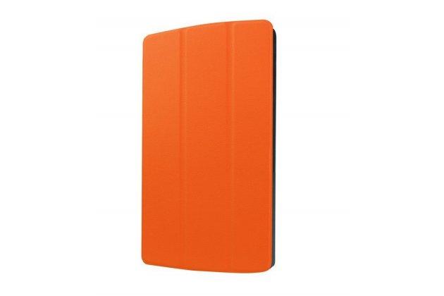 """Фирменный умный чехол-книжка самый тонкий в мире для LG G Pad X 8.3 (VK815) """"Il Sottile"""" оранжевый кожаный"""