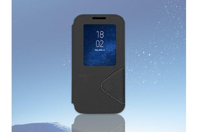 Фирменный оригинальный чехол-книжка для LG L70 D325 черный кожаный с окошком для входящих вызовов